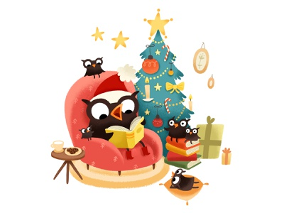 Owl HNY christmas tree owl books 2018 post card happy new year