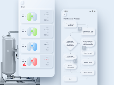 Dryer | Neomorphism interface app ui neumorphism neomorphism skeuomorphism flow chart run status stop pause play dryer air machine