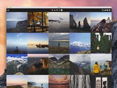 Fullscreen grids features instagram design ui adaptive like mac yosemite os x