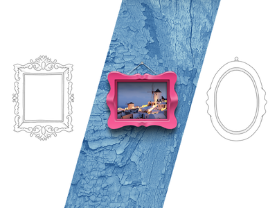 Frames design shelf sketch icon gallery color wall image painting type frame illustration