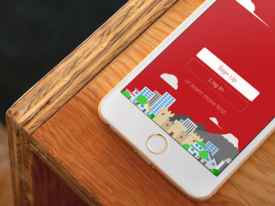 Illustration illustration flat city home building street sign login iphone design app button