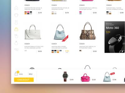 Shopping Platform cart flat product shopping e-commerce ipad page ux ios interface ui design