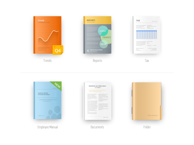 Document icon folder documents manual employee tax reports trends color design icon