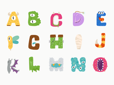 Monster Fonts typography typeface type sticker monster glyphs illustration icon halloween font design cute