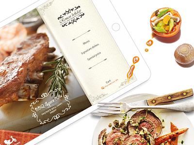 Mobile Restaurants fold ipad paper typography menu design restaurant steak meal ui food