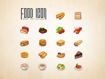 Food Icon icon icons steak meal food soup sandwich lobster egg roll sushi pie hamburger vegetable breadsticks burrito cake