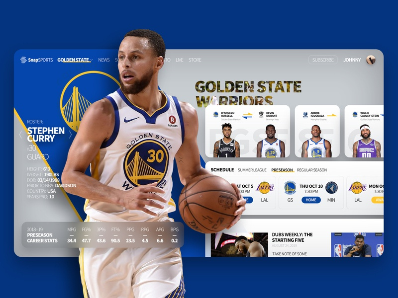 Sports App stephen curry gsw nba sport basketball ui product interface flat design app