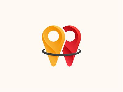 Geolocation Logo tourism logo tourism illustrator graphic design coloful yellow red design logo logo gradient geolocation