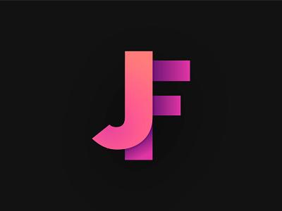 JF Logo modern logo logotype logo letter logo illustrator graphic design gradient jf logo jf