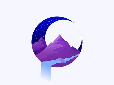 Moonlight moonlight graphic design vector stars space night river mountain moon illustration