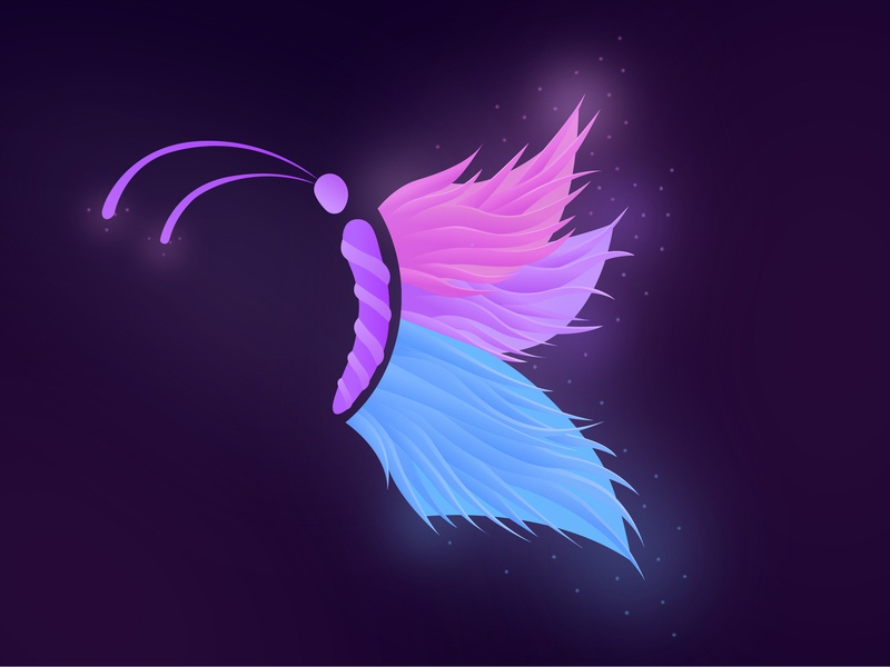 Butterfly glow glowing illustrator vector colorful gradient magic butterfly magic art illustration butterfly graphic design