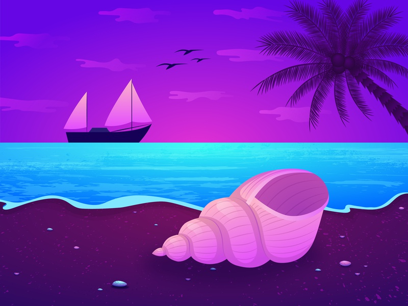 Coast sunset nautilus boat shell clouds palm sea coast graphic  design illustration