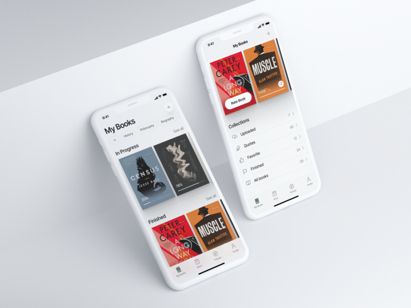 ReadX – Mobile Reading App fintech product design flat clean product design app ux ui design app neumorphism reading books