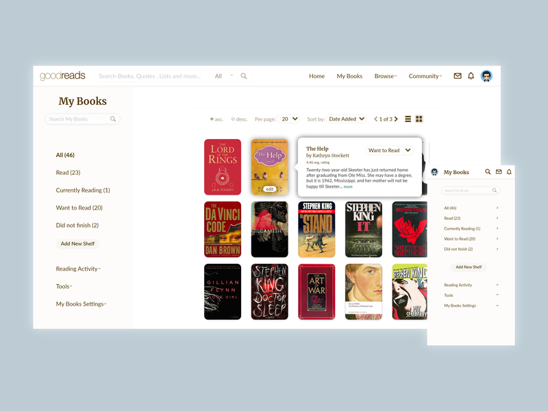 Goodreads My Books page Redesign web design ux design user interface design user interface ui ux design ui ux ui design redesign prototyping mobile app design heuristic design goodreads