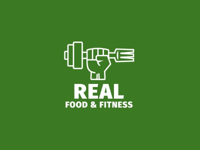 Real Food & Fitness 🍴💪 diet health coaching sport fork fist dumbbell logo exercise gym