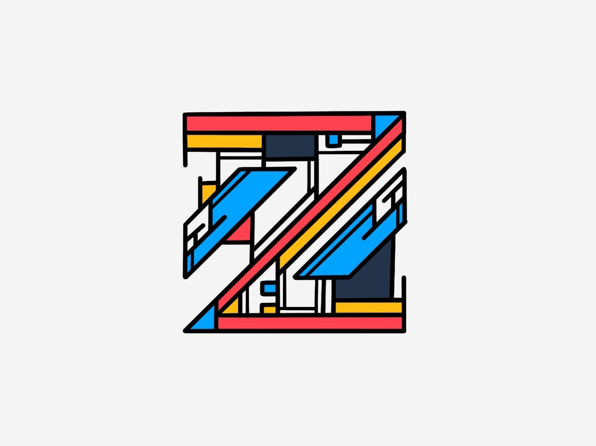 A very geometric Z. staircase primary colors geometric dribbble illustration graphicdesign design