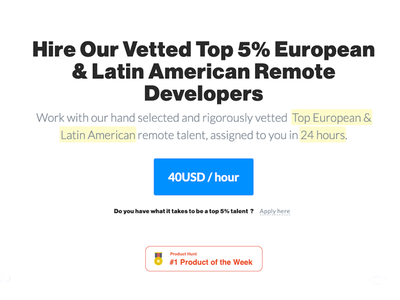 Hire Top 5% developers for a flat rate of 40USD/ hour