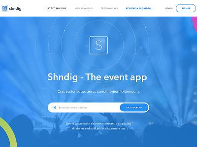 Shndig - Event management app landing ui candy hero landing