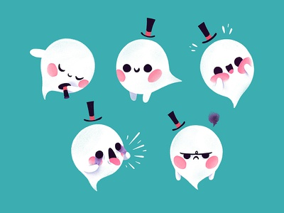 Ghost character cute design illustration