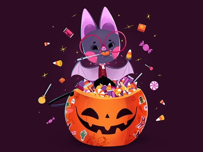 Halloween candy halloween bat cute design character illustration