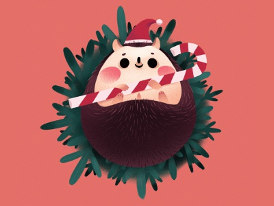 Hedgehog hedgehog christmas plant cartoon cute character illustration