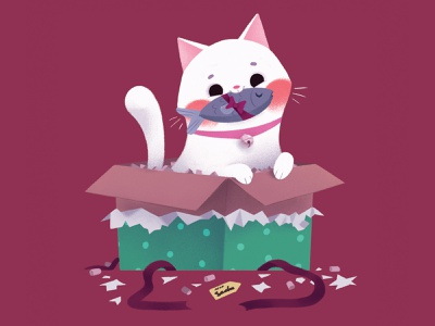 Cat cat christmas animal cartoon cute character illustration