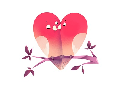 Lovebirds shapes birds lovebirds valentine day cute animal design illustration