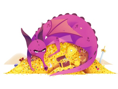 MINE! cartoon illustration drawing treasures dragon
