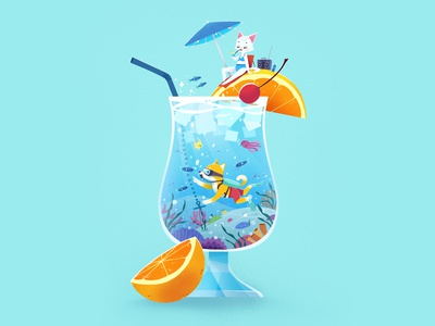 Cocktail summer beach cocktail dog cat cute cartoon character design illustration