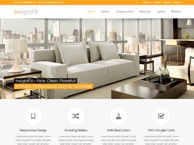 InsightFX - Multipurpose Joomla Template gantry joomla 2.5 k2 corporate ecwid forum joomla 3 kunena responsive shop sortable portfolio store