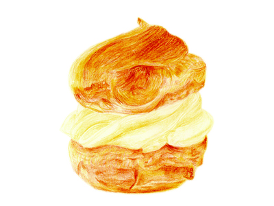 Cream Puff pastry colored pencil illustration