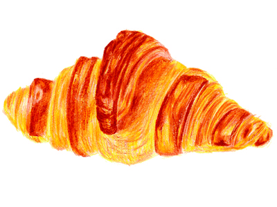 Croissant pastry illustration colored pencil