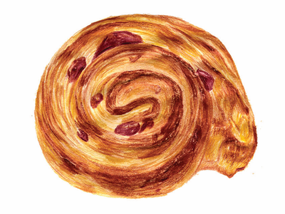 pastry series: pain aux raisin pastry prisms colored pencils illustration