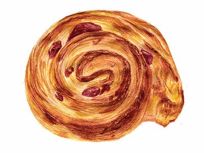 pastry series: pain aux raisin pastry prisms colored pencils illustration
