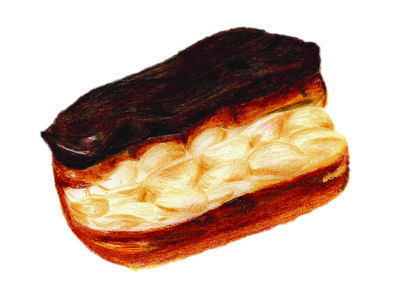 Eclair pastry colored pencils colored pencil illustration
