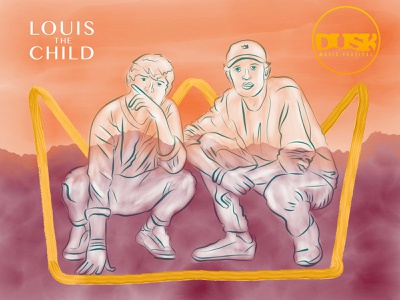 Louis The Child digital illustration fan art musician music art watercolor ipad pro graphic design design photoshop illustration