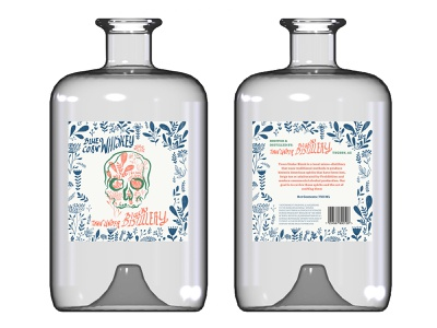 Blue Corn Whiskey Label hand lettering whiskey skull floral logo alcohol branding package design graphic design design typography illustration