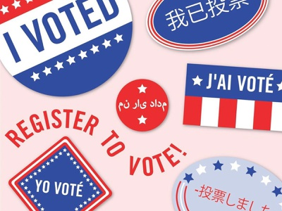 Register to Vote diversity variation shapes composition stars and stripes stars pink blue white red american multilingual political graphic vote vector illustration design graphic design typography