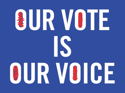 Our Vote is Our Voice design america blue white red political voting illustration graphic design typography