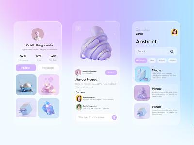 social media app pastel color blur background illustration 3d app design ui ux concept blurred