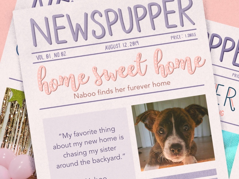 """Good News"" Newspupper lettering challenge puppies cute happy good newspaper lettering artist lauren hom design vector dog lettering illustration"