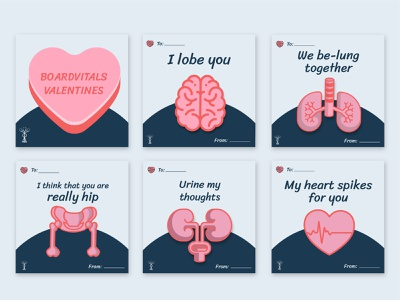 Punny BoardVitals Valentine's Cards board review medical puns punny hearts conversation valentines boardvitals adobe illustrator illustrator