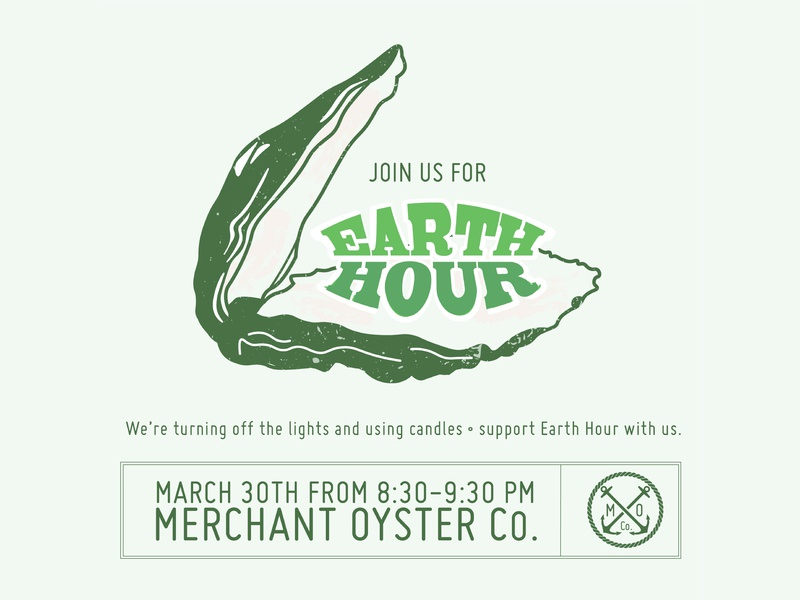 Earth Hour <3 green earth mother earth typography green retro pgh lawrenceville pittsburgh oyster bar oyster merchany oyster co nature celebrate earth earth day earth hour illustrator