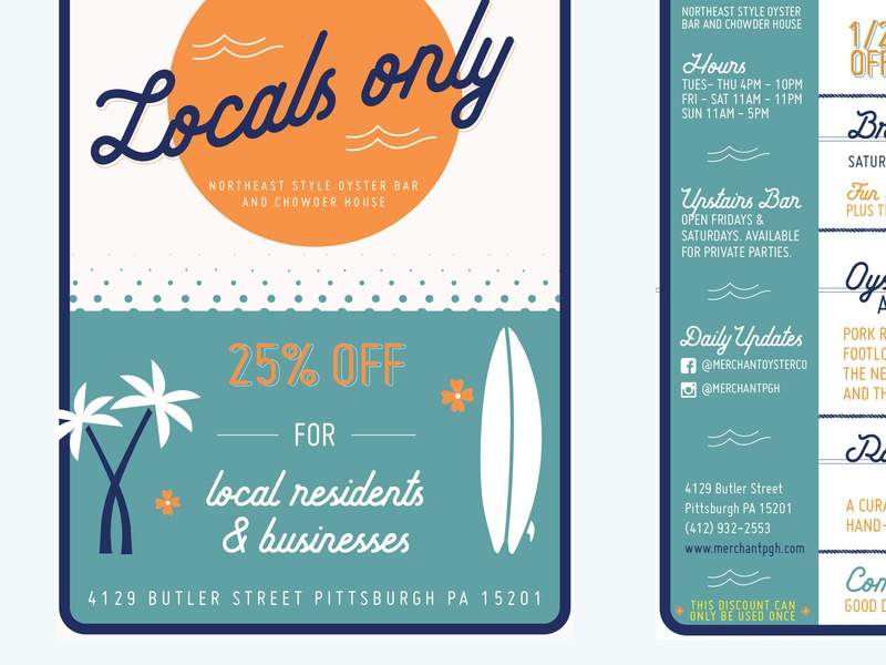 Locals only. oyster bar menu restaurant flier print design flier happy hour flier happy hour blues illustrator hang loose oyster bar pittsburgh aloha flora surfboard palms surf locals only