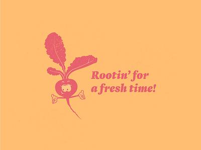Rootin' for you! farm orange texture retro vintage cartoon beet adobe illustrator illustration illustrator