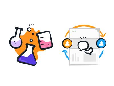 User Testing vector feedback science beaker user testing ux illustration splash