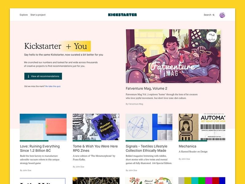 Kickstarter + You landing page results ui
