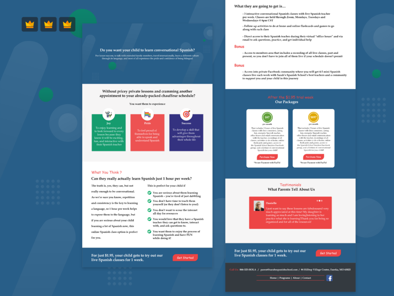 Sale Page Design for Spanish Language Teaching School