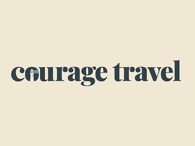 Courage Travel illustration icon branding vector typographic logo typographic typography illustrator serif logo design 2d design logo