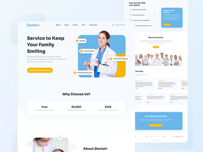 Dental Landing Page design clinic website ui uidesign doctor web animation prototype animation prototype medical landing page landingpage blue yellow animation medical app dental clinic dental web design website design animations